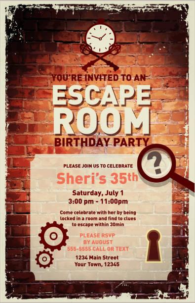 Escape Room Birthday Party Celebration invitation design template vector art illustration