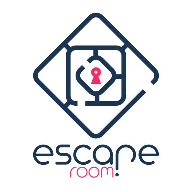 escape room logo Abstract escape room logo escaping stock illustrations