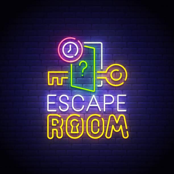 Escape Room neon sign, bright signboard, light banner. Quest Room  logo neon, emblem. Vector illustration Escape Room neon sign, bright signboard, light banner. Quest Room  logo neon, emblem. Vector illustration. escaping stock illustrations