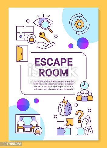 Escape room poster template layout. Quest banner, booklet, leaflet print design with linear icons. Riddle solving game vector brochure page layout for magazines, advertising flyers