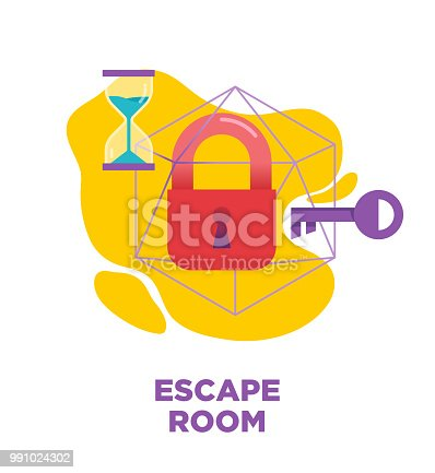 Escape room, quest room, real-life game vector illustration, icon