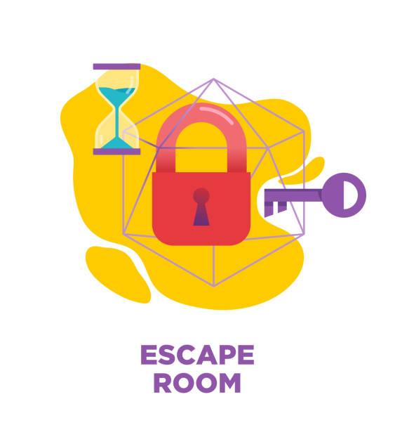 ilustrações, clipart, desenhos animados e ícones de escapar quarto sala quest, ilustração vetorial jogo de vida real, ícone - escapismo