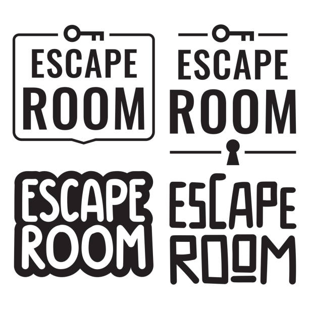 Escape room. Vector illustrations on white background. Badges, icons, stamps set. escaping stock illustrations