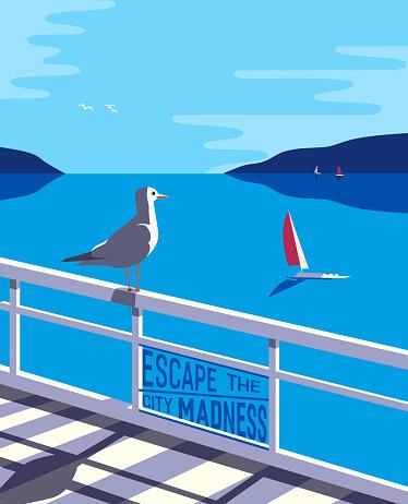 Escape the city nautical style illustration