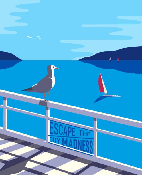 die stadt nautischen stil illustration zu entkommen - buchten stock-grafiken, -clipart, -cartoons und -symbole