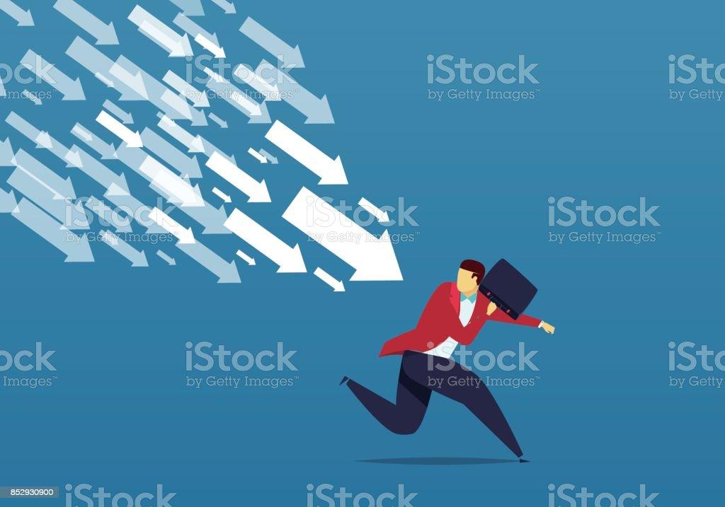 Escape the falling arrows vector art illustration
