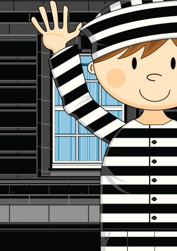 Escaped Prisoner with Hands Up
