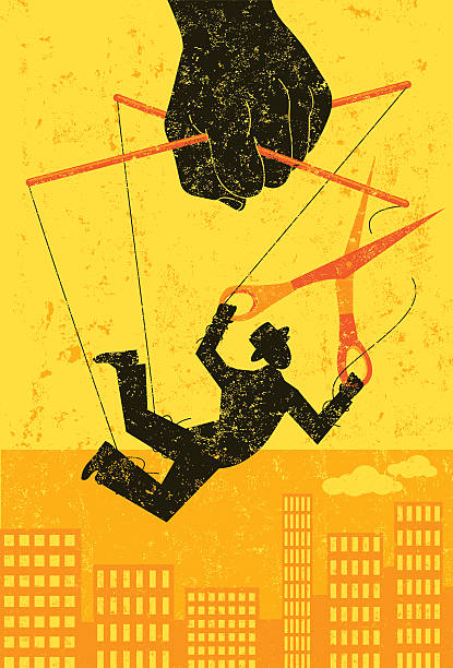 escaping a controlling boss - marionetka stock illustrations