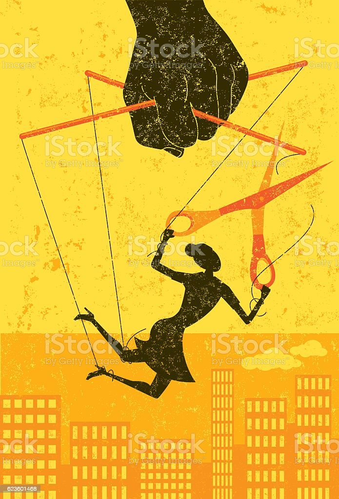 Escaping a controlling boss vector art illustration