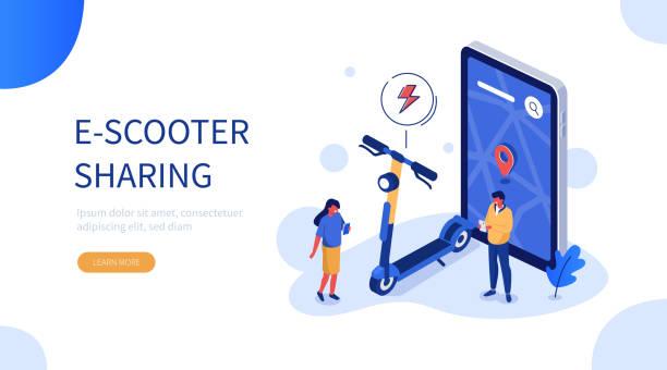 illustrazioni stock, clip art, cartoni animati e icone di tendenza di e-scooter sharing - monopattino elettrico