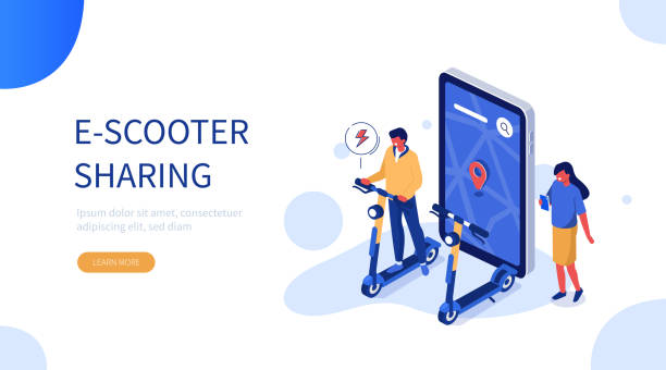 illustrazioni stock, clip art, cartoni animati e icone di tendenza di e-scooter - monopattino elettrico
