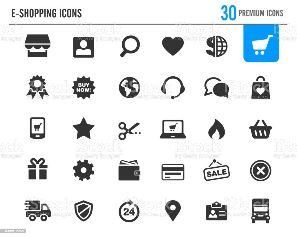 e-Shopping Icons // Premium Series - Royalty-free A usar um telefone arte vetorial