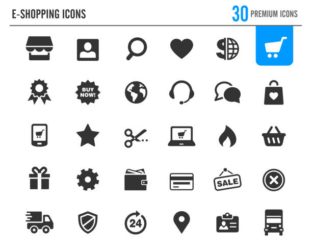 e-Shopping Icons // Premium Series Vector icons for your web or print projects. online shopping stock illustrations