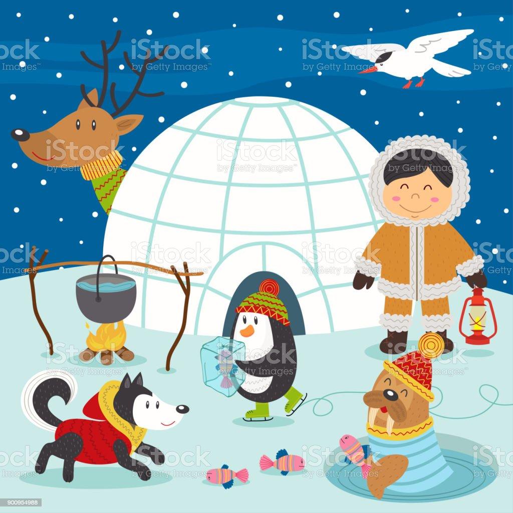 Gar on esquimau et animaux de larctique sur le p le nord vecteurs libres de droits et plus d - Animaux pole nord ...