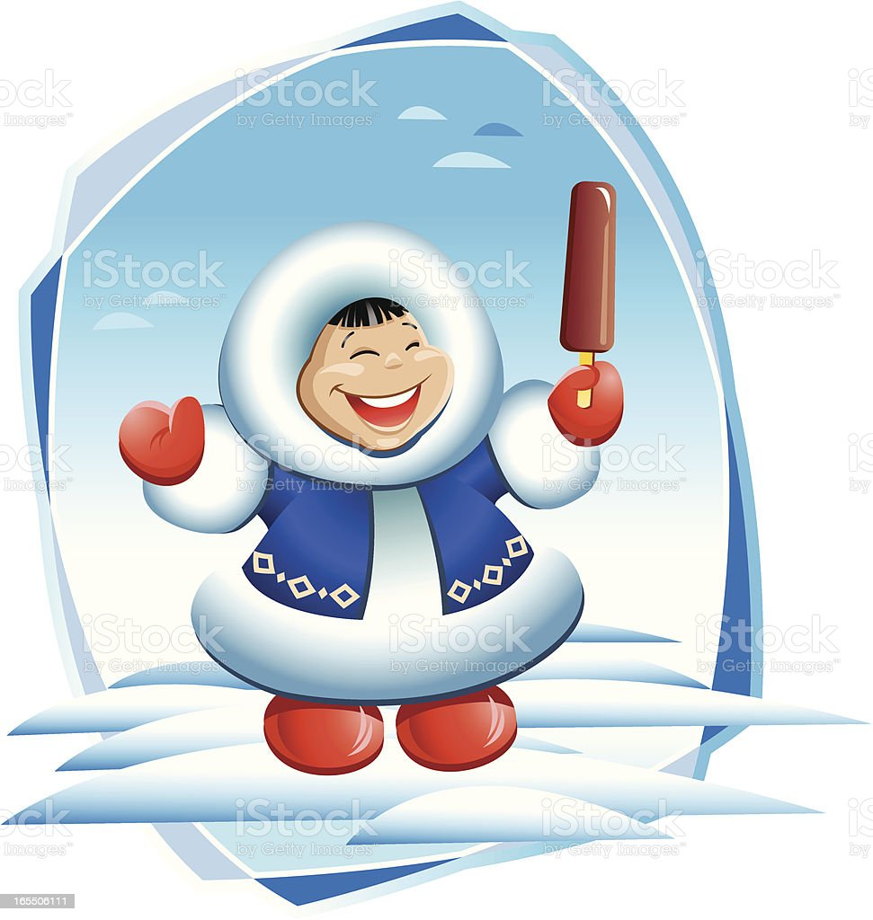 Eskimo boy with by an ice-cream royalty-free stock vector art