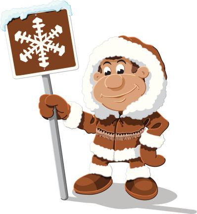 Eskimo Cartoon Man Snow Sign Isolated