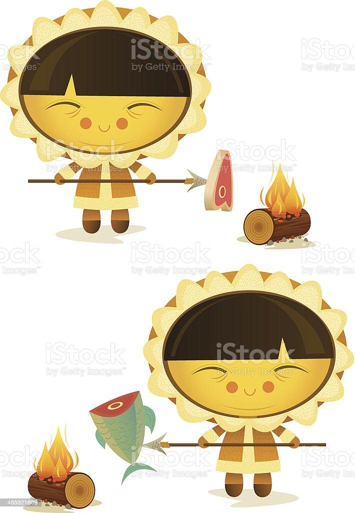 Eskimo Cooking vector art illustration