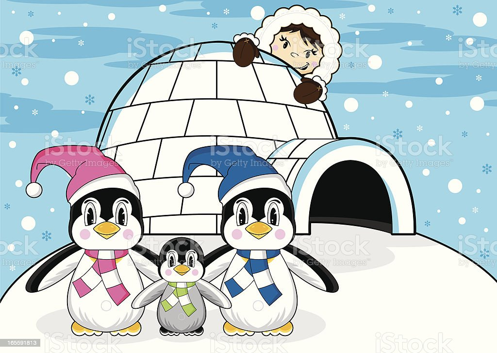 Eskimo Penguins & Igloo Scene royalty-free stock vector art