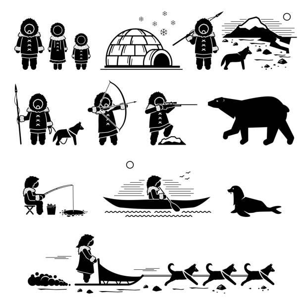 Eskimo people, lifestyle, and animals. Stick figure pictogram depicts Eskimo human, igloo, hunting, fishing, polar bear, husky dog, sled dogs, seal, and canoe. greenland stock illustrations