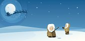 Two Eskimos are out fishing on Christmas Eve in the North Pole. They see santa flying through the sky past the full moon with his reindeer and sleigh on his way to deliver gifts around the world.