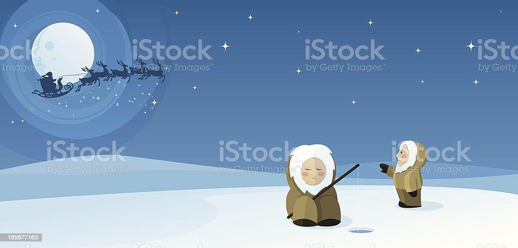 Eskimo Sees Santa vector art illustration