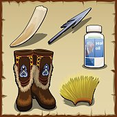 Eskimo vector set of tusk, harpoon, hat and seal fat