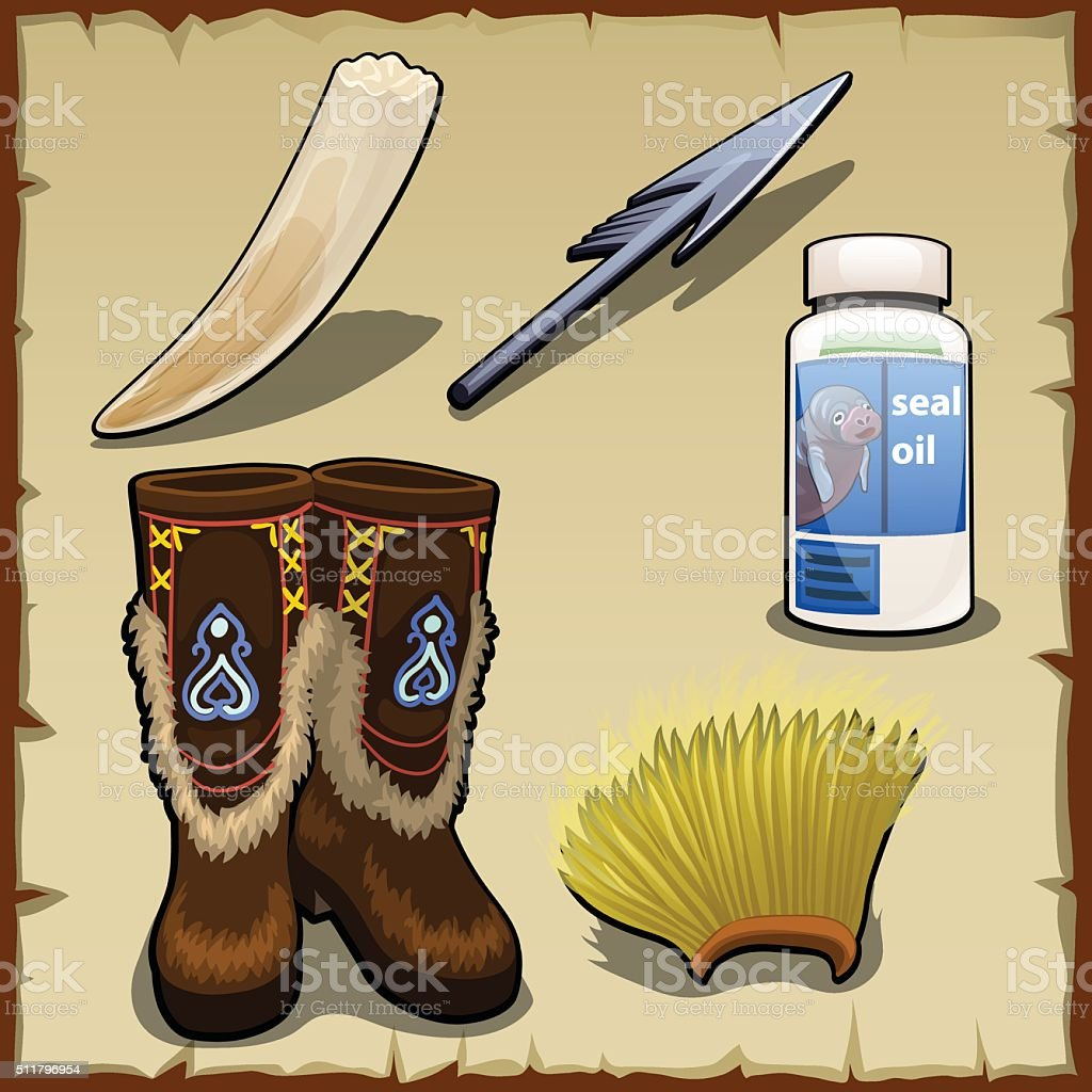Eskimo set of tusk, harpoon, hat and seal fat vector art illustration