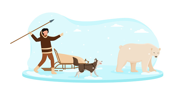 Eskimo wearing traditional clothes hunting on white bear with a spare