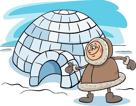 eskimo with igloo cartoon illustration