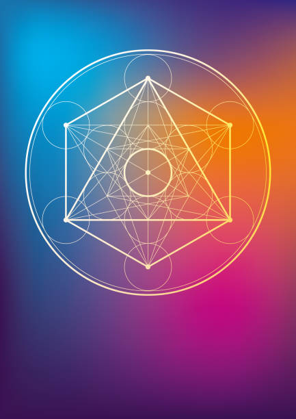 Esoteric Geometric Symbol Vector Illustration of a beautiful poster, or folder or notebook cover with a Esoteric Geometric Symbols alchemy stock illustrations