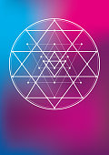 Vector Illustration of a beautiful poster, or folder or notebook cover with a Esoteric Geometric Symbols