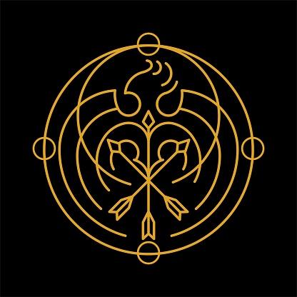 Esoteric Rounded Shaped Golden Phoenix Symbol Illustration.eps