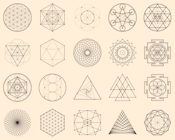 Esoteric Spiritual Geometry Vector Illustration with a Perfect Set of Sacred Icons himbeeren stock illustrations