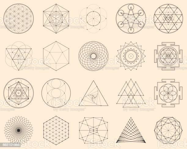 Vetores de Geometria Espiritual Esotérica e mais imagens de Abstrato