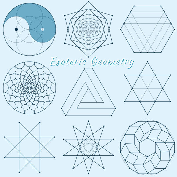 ilustraciones, imágenes clip art, dibujos animados e iconos de stock de geometría espiritual esotérica - yin yang symbol