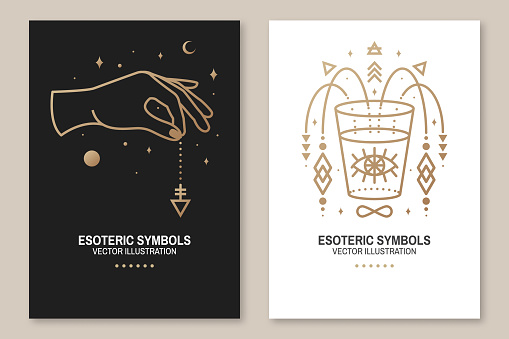 Esoteric symbols, poster, flyer. Vector. Thin line geometric badge. Outline icon for alchemy or sacred geometry. Mystic and magic design with hand, stars, planets, moon, all-seeing eye and glass