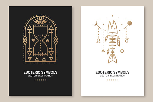 Esoteric symbols, poster, flyer. Vector. Thin line geometric badge. Outline icon for alchemy or sacred geometry. Mystic and magic design with fish bone, all-seeing eye and hourglass