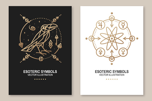 Esoteric symbols poster, flyer. Vector. Thin line geometric badge. Outline icon for alchemy, sacred geometry. Mystic, magic design with atom, crow and galaxy