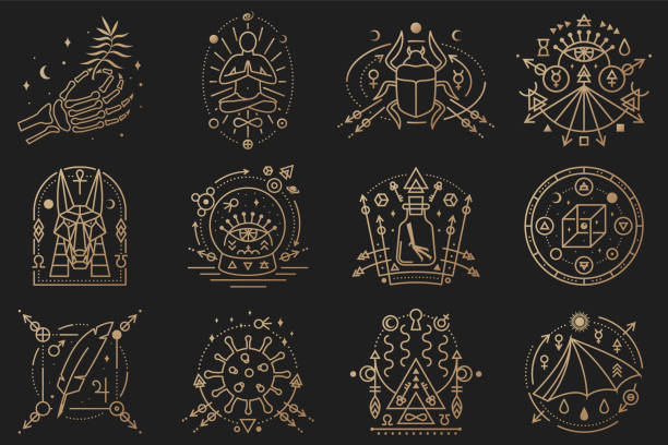 esoteric symbols. vector illustration. outline icon for alchemy, sacred geometry. mystic, magic design with man in yoga lotus pose, bat wing, chemistry flask, skull, gate, scarab beetle - lodge member stock illustrations