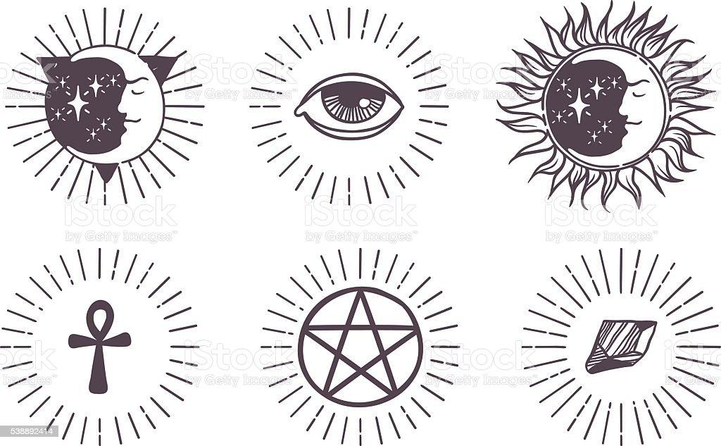 Esoteric symbols vector illustration. vector art illustration