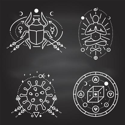 Esoteric symbols. Vector Thin line geometric badge on chalkboard. Outline icon for alchemy, sacred geometry. Mystic, magic design with man in yoga lotus pose, scarab beetlee, coronavirus, cube