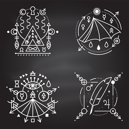 Esoteric symbols. Vector Thin line geometric badge on chalkboard. Outline icon for alchemy, sacred geometry. Mystic, magic design with bat wing, feather, stars, planets, portal to another world