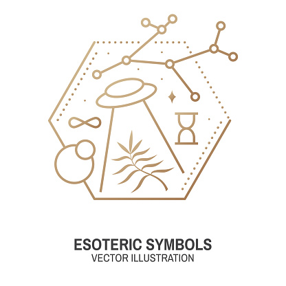 Esoteric symbols. Vector. Thin line geometric badge. Outline icon for alchemy or sacred geometry. Mystic and magic design with alchemy symbols and ufo flying.