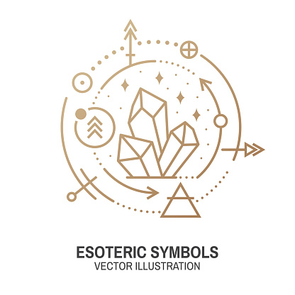 Esoteric symbols. Vector. Thin line geometric badge. Outline icon for alchemy or sacred geometry. Mystic and magic design with alchemy symbols and crystals.