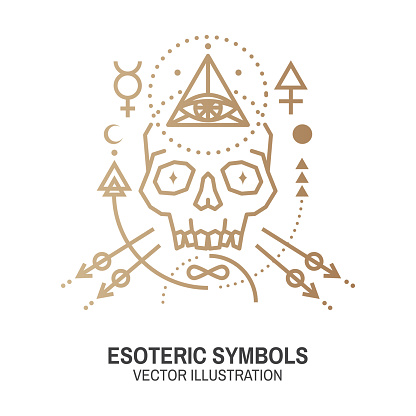 Esoteric symbols. Vector. Thin line geometric badge. Outline icon for alchemy or sacred geometry. Mystic and magic design with skull and alchemy symbols.