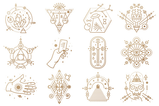Esoteric symbols. Vector. Thin line geometric badge. Outline icon for alchemy, sacred geometry. Mystic and magic design with crystals, sun, ufo flying, stars, gate to another world and moon.