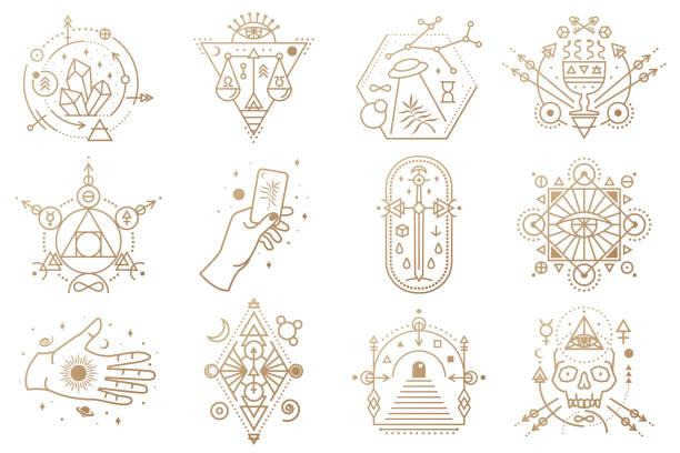 ilustraciones, imágenes clip art, dibujos animados e iconos de stock de símbolos esotéricos. vector. insignia geométrica de línea delgada. icono de esquema para la alquimia, geometría sagrada. diseño místico y mágico con cristales, sol, vuelo ufo, estrellas, puerta a otro mundo y luna. - tatuajes de diamantes
