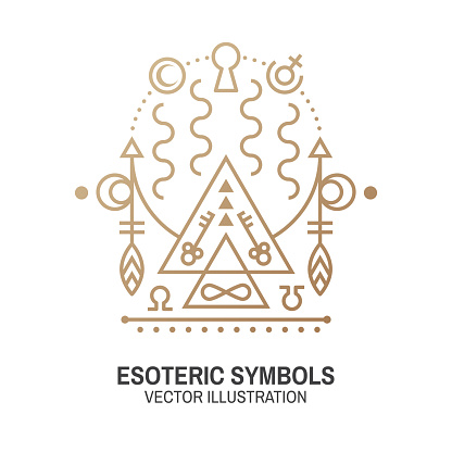 Esoteric symbols. Vector. Thin line geometric badge. Outline icon for alchemy or sacred geometry. Mystic and magic design with Gate to another world.