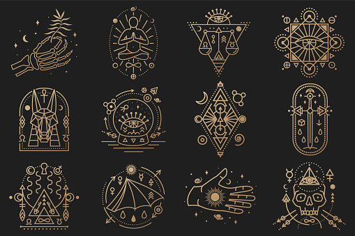 Esoteric symbols. Vector. Thin line geometric badge. Outline icon for alchemy, tarot cards, sacred geometry Mystic, magic design with stars, skull, gate to another world, moon, human skeleton hand