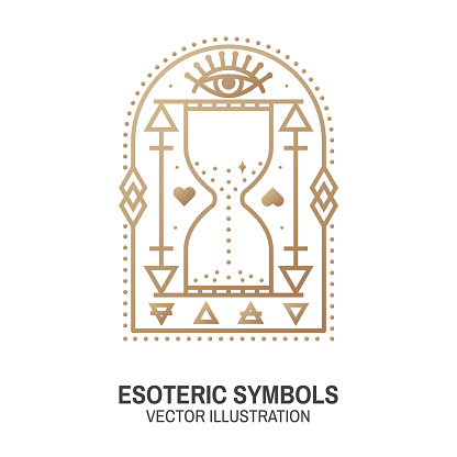 Esoteric symbols. Vector. Thin line geometric badge. Outline icon for alchemy or sacred geometry. Mystic and magic design with all-seeing eye and hourglass